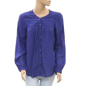 Free People Smocked Buttondown Lace Blue Top S